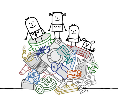 cartoon family on a big pile of trash