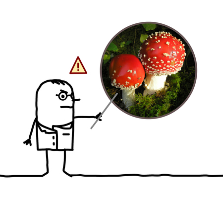 cartoon man doctor warning dangers of mushroom Amanita