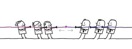 漫画のキャラクターは、2 つのチームに分かれてください。