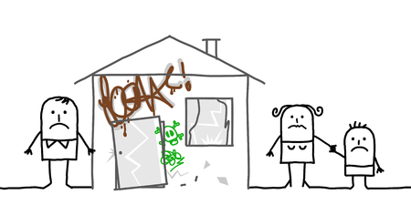 squatter: cartoon family and house vandalized