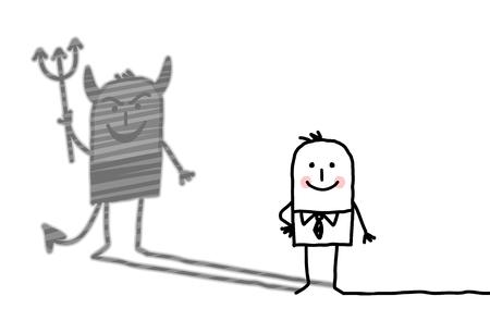 Devil cartoon man with shadow