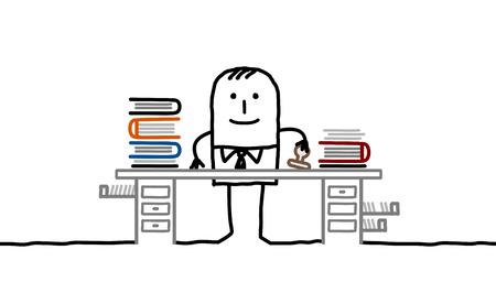 cartoon man working office
