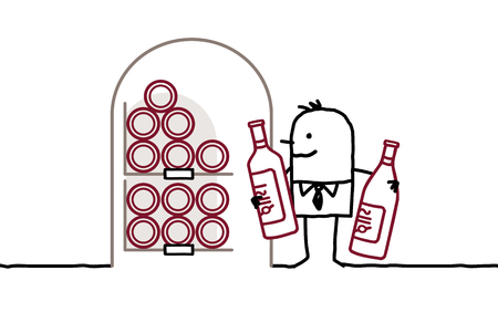 wine grower: cartoon man with bottles of wine