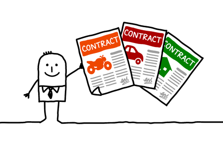 contracts: cartoon businessman with insurance contracts