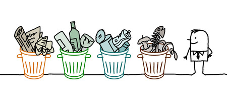 recycles: cartoon man trash and recycling bins