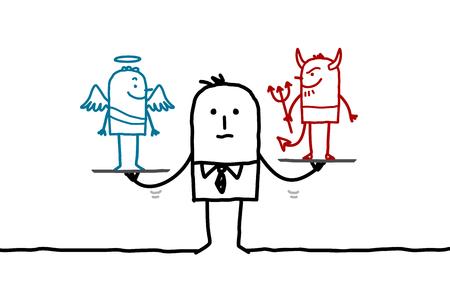 teufel und engel: Cartoon Geschäftsmann mit Engel und Teufel