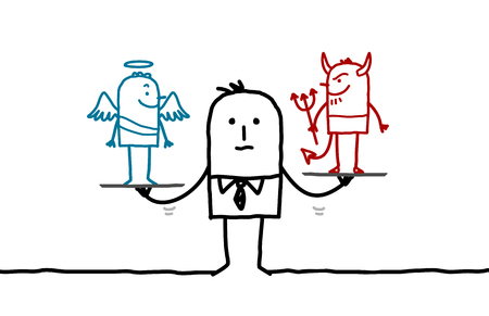 cartoon businessman with angel and devil