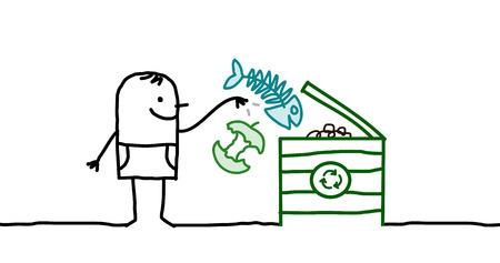 cartoon man and compost box Stock Photo
