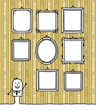 cartoon man and blank frames on vintage wall Stock Photo