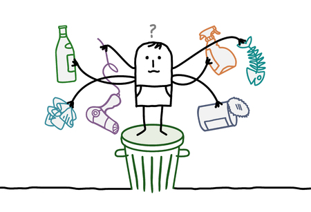 recycles: cartoon man with recycling things embarassed