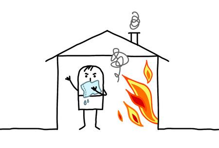 burning house: cartoon man in burning house