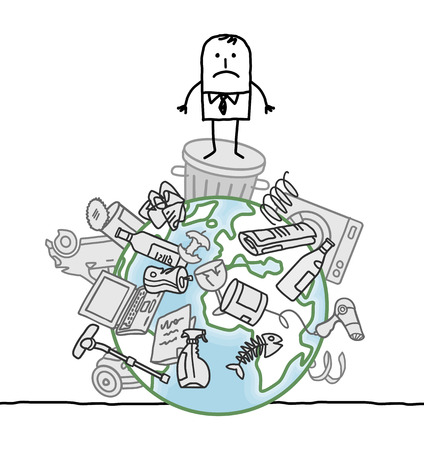 landfill: cartoon businessman and pollution on Earth