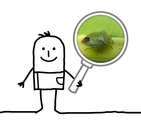 cartoon man observing a bug with a magnifying glass