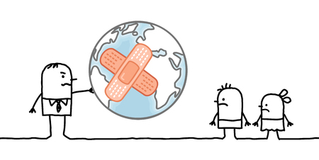 personas enfermas: hombre de dibujos animados dando un planeta enfermo como para sus hijos