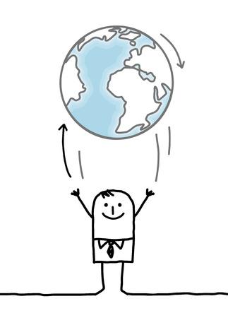 earth cartoon: cartoon businessman throwing up the Earth