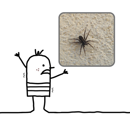 trembling: cartoon man frightened with a spider