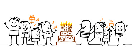 happy birthday cartoon: cartoon people and birthday cake Stock Photo