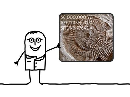 paleontologist: cartoon man paleontologist