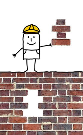 missing piece: cartoon foreman holding a missing piece for a wall
