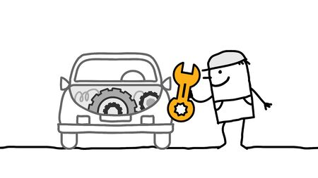 cartoon man working on car