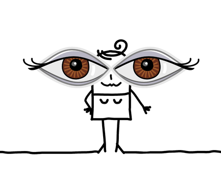 Cartoon-Mädchen mit großen Augen