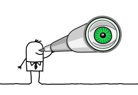 cartoon zakenman met een grote telescoop Stockfoto