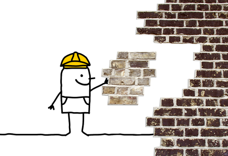 foreman: cartoon foreman holding a missing piece for a wall