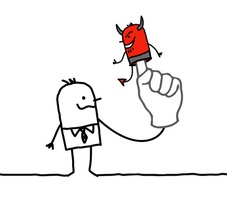 Devil cartoon businessman with puppuet on finger