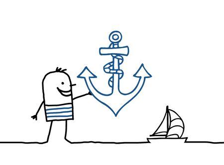 anchor man: cartoon sailor man with anchor