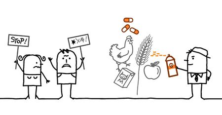 food industry: cartoon people saying NO to chemicals in food industry
