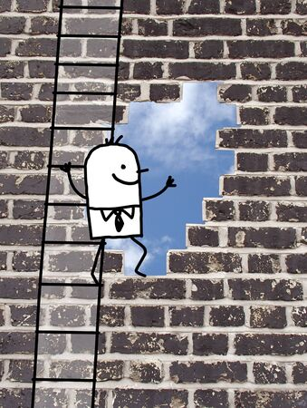 mounting holes: cartoon man climbing to an outlet in a wall Stock Photo