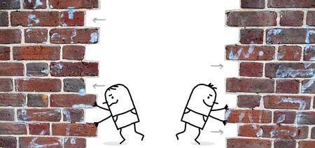 empujando: dos hombres de dibujos animados empujar y abrir una pared