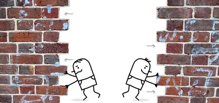 open up: two cartoon men pushing and open up a wall