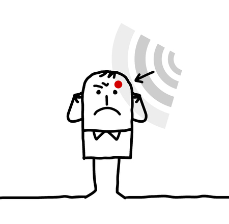 interception: cartoon man suffering from electrosensitivity