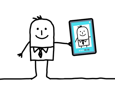 egocentric: cartoon businessman taking a picture of himself