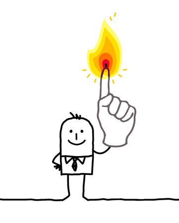 one finger: cartoon businessman with one finger burning