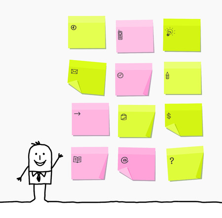 sticky: cartoon businessman and sticky notes