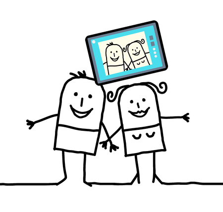 egocentric: cartoon couple sending a picture of themselves