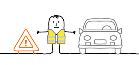 face off: Hand drawn cartoon characters - man with safety kit stopped on the road