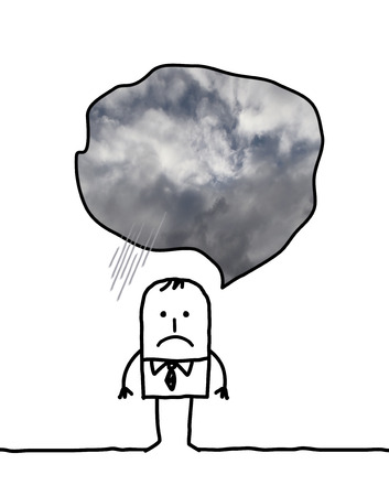 cloudy day: depressed man cartoon