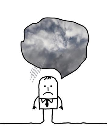 depressed man cartoon