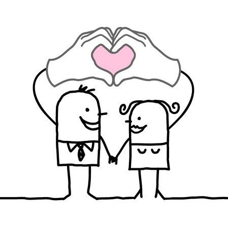 love symbols: cartoon couple making  heart sign with their hands
