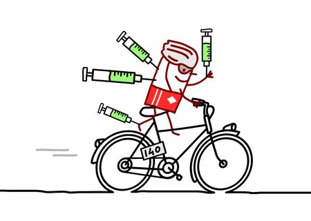 bycicle: cartoon doped champion on bycicle Stock Photo