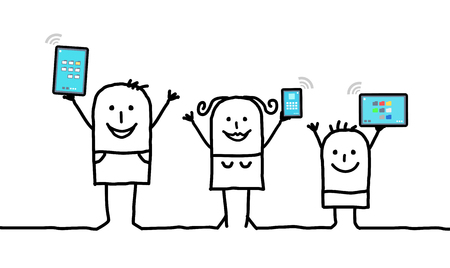 cartoon family holding connected digital  tablets and phones Stok Fotoğraf