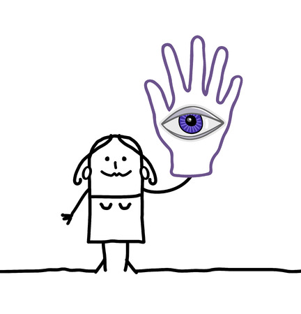 soothsayer: cartoon woman with big hand and eye