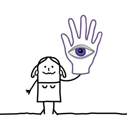 adivino: mujer de dibujos animados con una gran mano y el ojo
