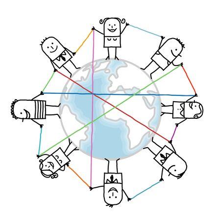 地球上の漫画に接続された人々