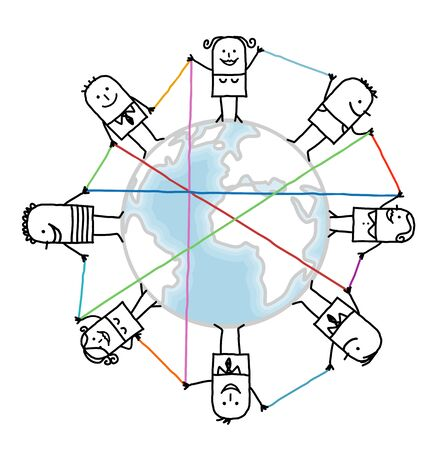 interactivity: cartoon connected people on Earth Stock Photo