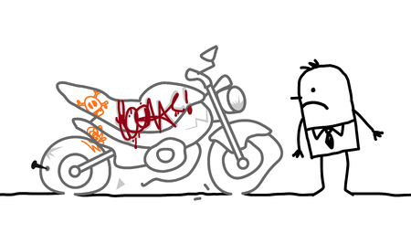 rampage: cartoon man and vandalized motorbike