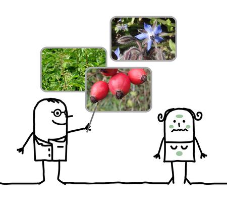 rose hips: cartoon man naturopath prescribing plants to a woman